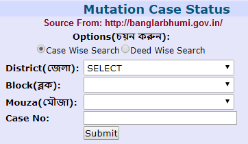 Banglarbhumi Mutation case status Check online at banglarbhumi.gov.in