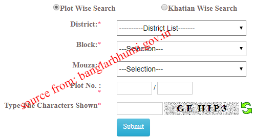Mutation plot khatian status in banglarbhumi.gov.in web page