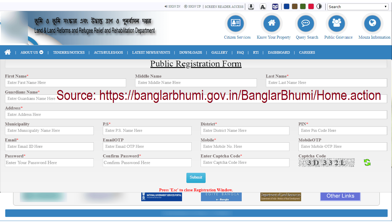 banglarbhumi signup registration application form